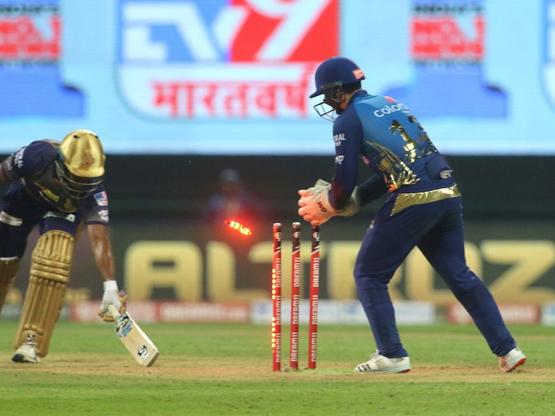 Quinton de Kock of Mumbai Indians stumps out Shivam Mavi of Kolkata Knight Riders during match 5 of season 13 of the Dream 11 Indian Premier League (IPL) between the Kolkata Knight Riders and the Mumbai Indians held at the Sheikh Zayed Stadium, Abu Dhabi in the United Arab Emirates on the 23rd September 2020. Photo by: Vipin Pawar / Sportzpics for BCCI