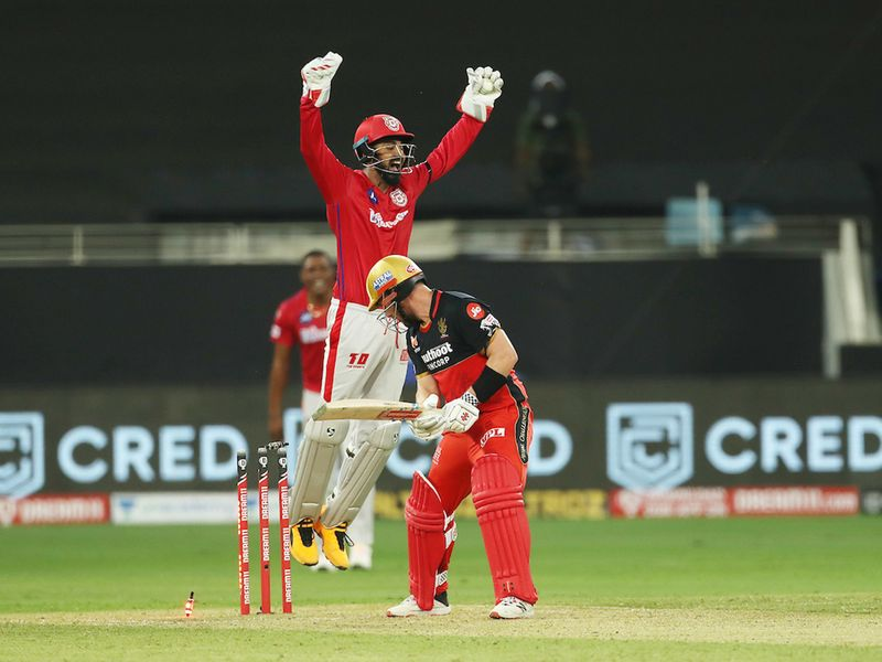 The KXIP party got better as RCB crumbled with the bat. Devdutt Padikkal, Josh Philippe and Kohli only managed two runs between them and only Aaron Finch (20) and AB De Villiers (28) put up much resistance in Dubai.