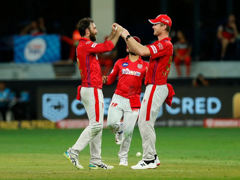 The Kings XI Punjab players celebrates the wicket of Shivam Dube of Royal Challengers Bangalore during match 6 of season 13, Dream 11 Indian Premier League (IPL) between Kings XI Punjab and Royal Challengers Bangalore held at the Dubai International Cricket Stadium, Dubai in the United Arab Emirates on the 24th September 2020. Photo by: Saikat Das / Sportzpics for BCCI
