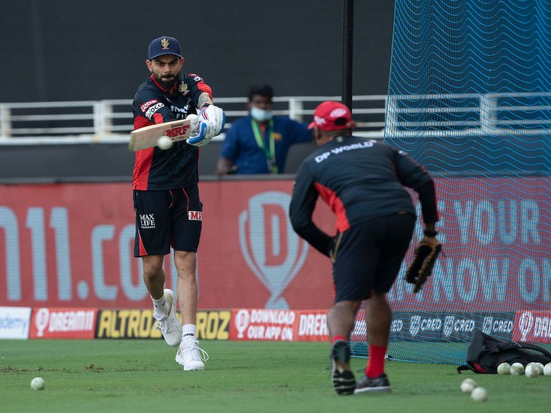 Virat Kohli captain of Royal Challengers Bangalore at practise during match 6 of season 13, Dream 11 Indian Premier League (IPL) between Kings XI Punjab and Royal Challengers Bangalore held at the Dubai International Cricket Stadium, Dubai in the United Arab Emirates on the 24th September 2020. Photo by: Saikat Das / Sportzpics for BCC