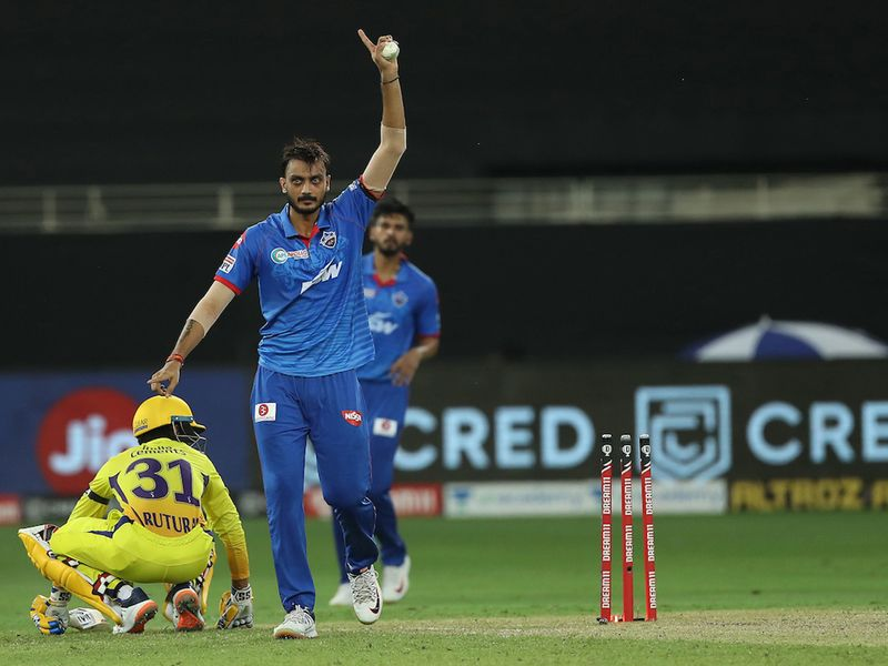 Axar Patel of Delhi Capitals appeals for the wicket of Ruturaj Gaikwad of Chennai Superkings during match 7 of season 13 of the Dream 11 Indian Premier League (IPL) between Chennai Super Kings and Delhi Capitals held at the Dubai International Cricket Stadium, Dubai in the United Arab Emirates on the 25th September 2020. Photo by: Ron Gaunt / Sportzpics for BCCI
