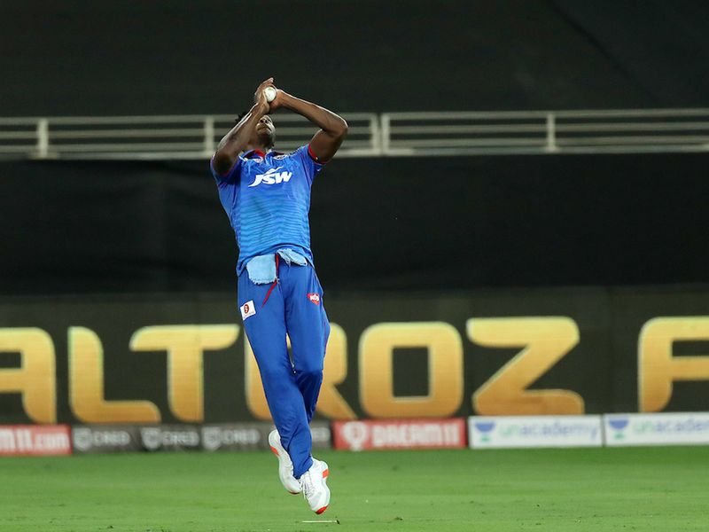Kagiso Rabada of Delhi Capitals takes the catch to dismiss Murali Vijay of Chennai Superkings during match 7 of season 13 of the Dream 11 Indian Premier League (IPL) between Chennai Super Kings and Delhi Capitals held at the Dubai International Cricket Stadium, Dubai in the United Arab Emirates on the 25th September 2020. Photo by: Ron Gaunt / Sportzpics for BCCI