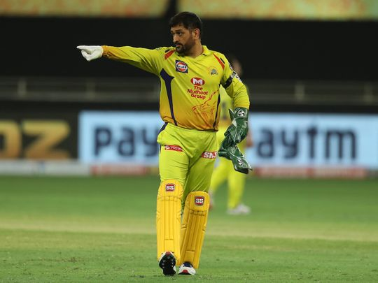 MS Dhoni captain of Chennai Superkings during match 7 of season 13 of the Dream 11 Indian Premier League (IPL) between Chennai Super Kings and Delhi Capitals held at the Dubai International Cricket Stadium, Dubai in the United Arab Emirates on the 25th September 2020. Photo by: Ron Gaunt / Sportzpics for BCCI
