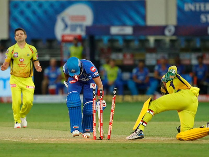 MS Dhoni captain of Chennai Superkings stumping Prithvi Shaw of Delhi Capitals during match 7 of season 13, Dream 11 Indian Premier League (IPL) between Chennai Super Kings and Delhi Capitals held at the Dubai International Cricket Stadium