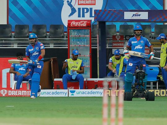 Prithvi Shaw of Delhi Capitals and Shikhar Dhawan of Delhi Capitals entering fop during match 7 of season 13, Dream 11 Indian Premier League (IPL) between Chennai Super Kings and Delhi Capitals held at the Dubai International Cricket Stadium
