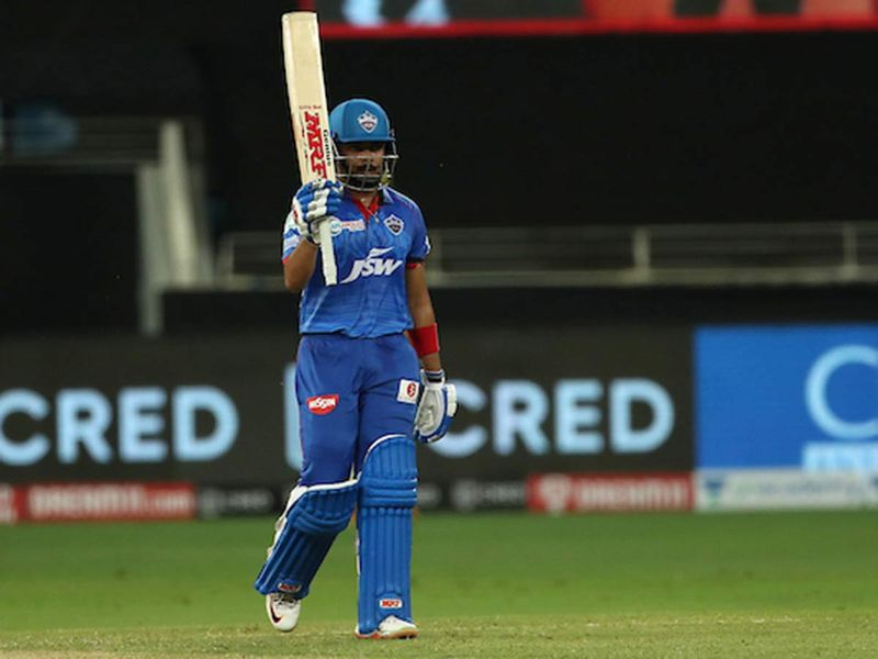 Prithvi Shaw of Delhi Capitals celebrates his fifty during match 7 of season 13 of the Dream 11 Indian Premier League (IPL) between Chennai Super Kings and Delhi Capitals held at the Dubai International Cricket Stadium