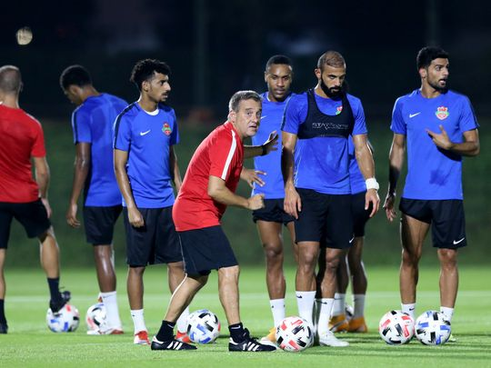 Shabab Al Ahlin Dubai train ahead of the AFC Champions League last 16