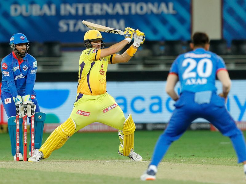 Shane Watson of Chennai Superkings batting during match 7 of season 13, Dream 11 Indian Premier League (IPL) between Chennai Super Kings and Delhi Capitals held at the Dubai International Cricket Stadium, Dubai in the United Arab Emirates on the 25th September 2020. Photo by: Saikat Das / Sportzpics for BCCI