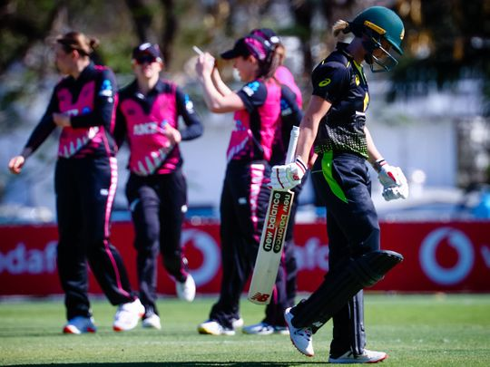 Australian captain Meg Lanning departs after being dismissed during the first T20 against Australia in Brisbane.