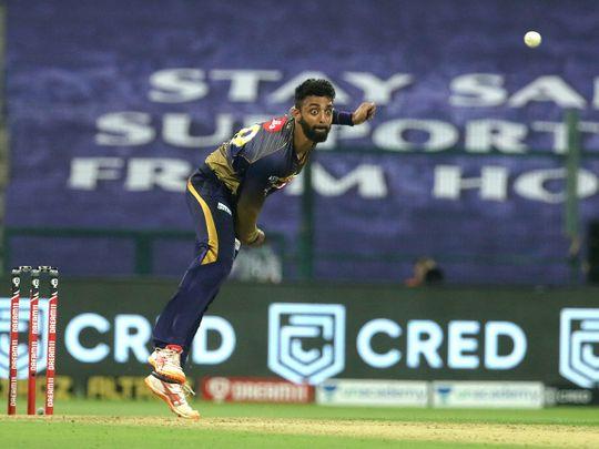 Varun Chakaravarthy of Kolkata Knight Riders bowls during the match.