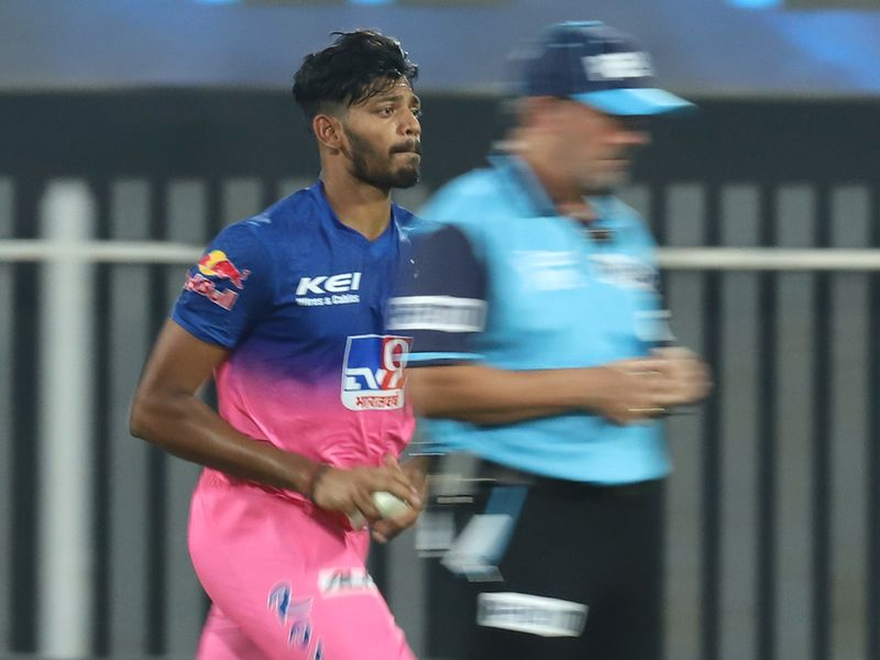 Ankit Singh Rajpoot of Rajasthan Royals bowls.