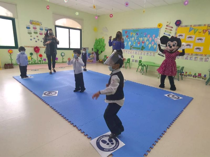 Children at Al Wahda Private School, Sharjah
