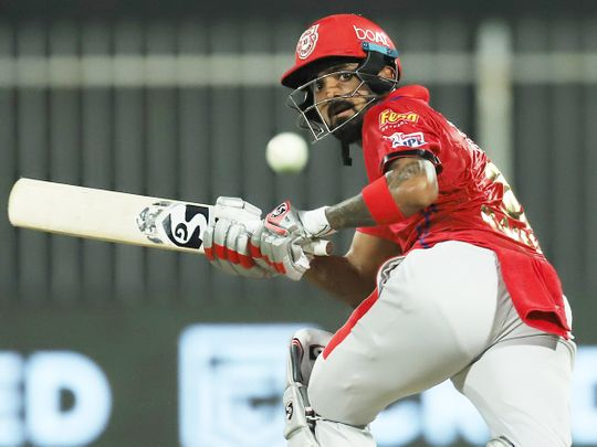 KL Rahul, captain of Kings XI Punjab, plays a shot