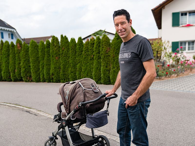 Lukas Inauen, who plans to vote against a new law that would mandate two weeks of paid paternity leave, in Siebnen, Switzerland, Sept. 23, 2020. The provision was set to go into effect last year, but a group of conservative lawmakers forced it to be put to a referendum