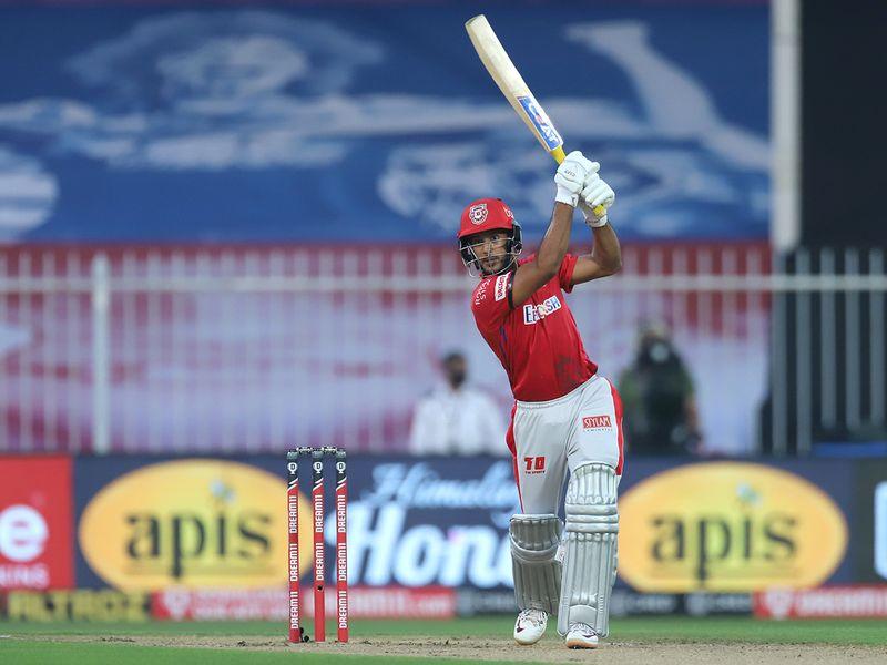 Mayank Agarwal of Kings XI Punjab bats during the match.