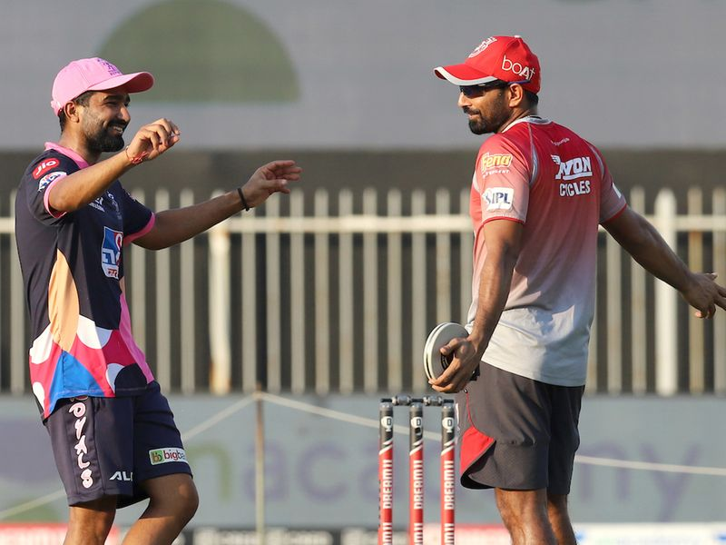 Rahul Tewatia of Rajasthan Royals and Mohammad Shami of Kings XI Punjab shared a laugh ahead of the crucial IPL 13 game