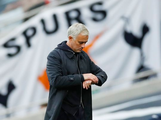 Tottenham Hotspur manager Jose Mourinho checks his watch at the end of the match against Newcastle.