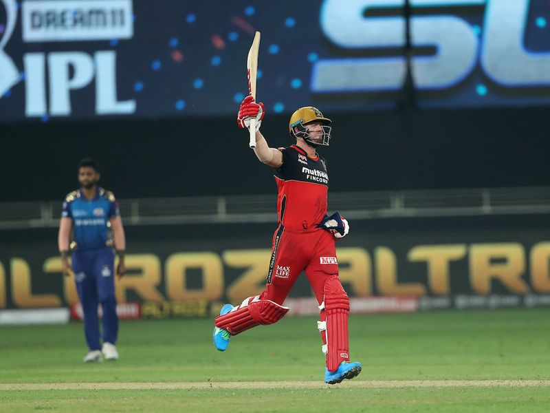 AB de Villiers of Royal Challengers Bangalore celebrates the win during match 10 of season 13 of the Dream 11 Indian Premier League (IPL) between The Royal Challengers Bangalore and The Mumbai Indians held at the Dubai International Cricket Stadium, Dubai in the United Arab Emirates on the 28th September 2020. Photo by: Ron Gaunt / Sportzpics for BCCI
