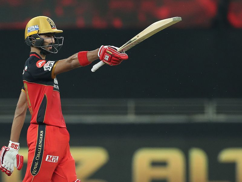 Devdutt Padikkal of Royal Challengers Bangalore celebrates his fifty during match 10 of season 13 of the Dream 11 Indian Premier League (IPL) between The Royal Challengers Bangalore and The Mumbai Indians held at the Dubai International Cricket Stadium, Dubai in the United Arab Emirates on the 28th September 2020. Photo by: Ron Gaunt / Sportzpics for BCCI
