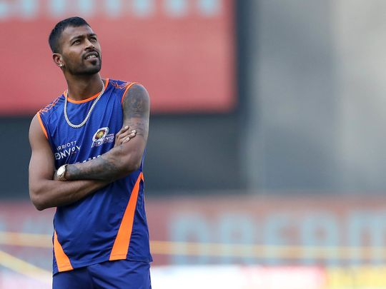 Hardik Pandya looks relaxed before the match with Royal Challengers Bangalore in Dubai