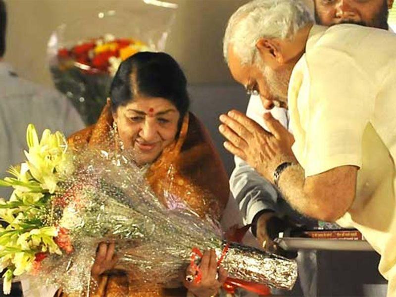 Lata Mangeshkar with PM Modi