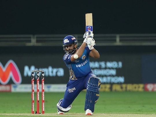 Rohit Sharma captain of Mumbai Indians during match 10 of season 13 of the Dream 11 Indian Premier League (IPL) between The Royal Challengers Bangalore and The Mumbai Indians held at the Dubai International Cricket Stadium