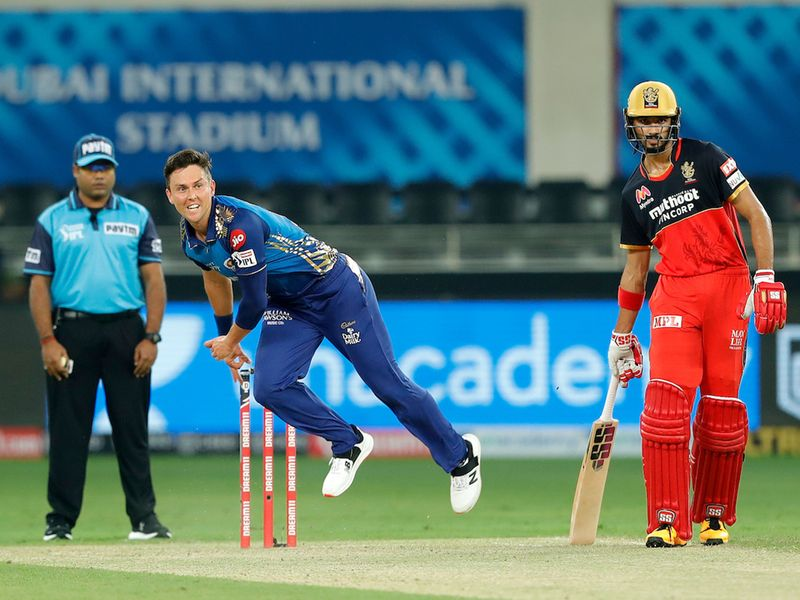 Trent Boult of Mumbai Indians bowling during match 10 of season 13 of the Dream 11 Indian Premier League (IPL) between The Royal Challengers Bangalore and The Mumbai Indians held at the Dubai International Cricket Stadium, Dubai in the United Arab Emirates on the 28th September 2020. Photo by: Saikat Das / Sportzpics for BCCI