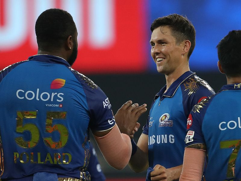 Trent Boult of Mumbai Indians celebrates the wicket of Aaron Finch of Royal Challengers Bangalore during match 10 of season 13 of the Dream 11 Indian Premier League (IPL) between The Royal Challengers Bangalore and The Mumbai Indians held at the Dubai International Cricket Stadium, Dubai in the United Arab Emirates on the 28th September 2020. Photo by: Ron Gaunt / Sportzpics for BCCI