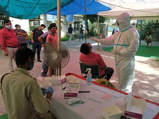 Health worker PPE nasal swab India