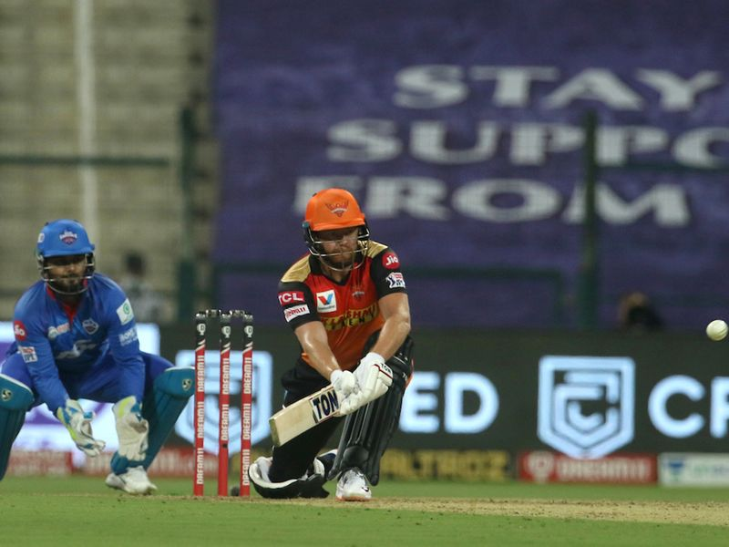 Jonny Bairstow of Sunrisers Hyderabad plays a shot during match 11 of season 13 of the Dream 11 Indian Premier League (IPL) between the Delhi Capitals and the Sunrisers Hyderabad held at the Sheikh Zayed Stadium, Abu Dhabi in the United Arab Emirates on the 29th September 2020. Photo by: Vipin Pawar / Sportzpics for BCCI