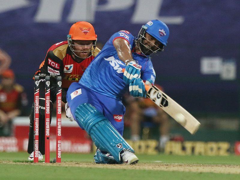 Rishabh Pant of Delhi Capitals plays a shot.
