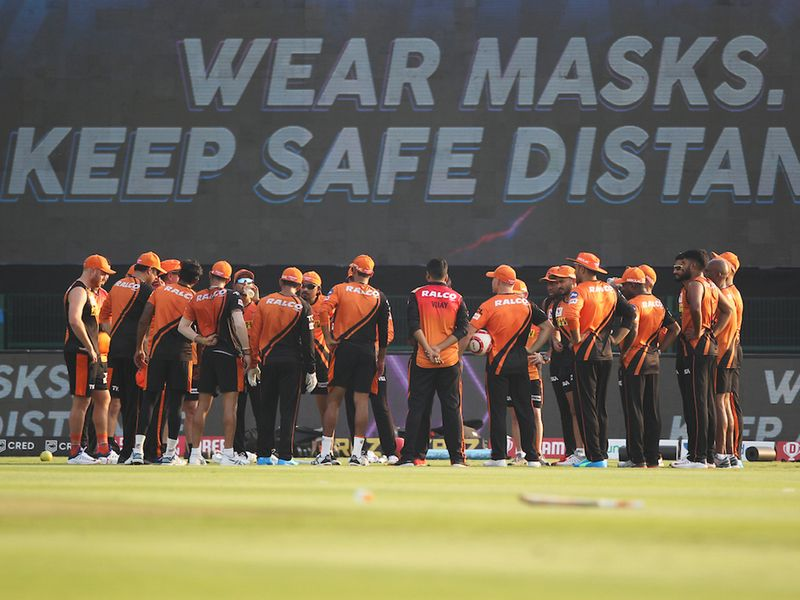 Sunrisers Hyderabad players during the practise session match 11 of season 13 of Indian Premier League (IPL) between the Delhi Capitals and the Sunrisers Hyderabadheld at the Sheikh Zayed Stadium, Abu Dhabi in the United Arab Emirates on the 29th September 2020. Photo by: Pankaj Nangia / / Sportzpics for BCCI