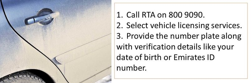 1.	Call RTA on 800 9090. 2.	Select vehicle licensing services. 3.	Provide the number plate along with verification details like your date of birth or Emirates ID number. 4.	Provide the updated mobile number.