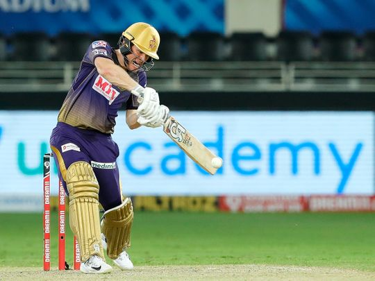 Eoin Morgan of Kolkata Knight Riders bats.
