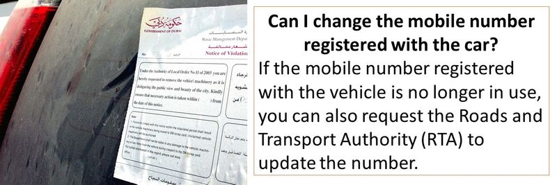 If the mobile number registered with the vehicle is no longer in use, you can also request the Roads and Transport Authority (RTA) to update the number.