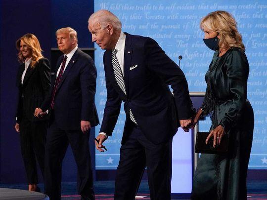 Melania Trump, President Donald Trump, Democratic presidential candidate former Vice President Joe Biden and Jill Biden,