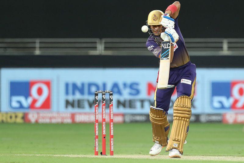 Shubman Gill of Kolkata Knight Riders plays a shot.