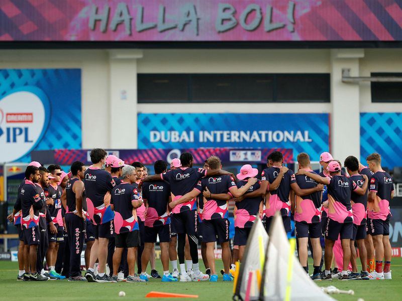 The Rajasthan Royals team meeting during match 12 of season 13 of the Dream 11 Indian Premier League (IPL) between the Rajasthan Royals and the Kolkata Knight Riders held at the Dubai International Cricket Stadium, Dubai in the United Arab Emirates on the 30th September 2020. Photo by: Saikat Das / Sportzpics for BCCI