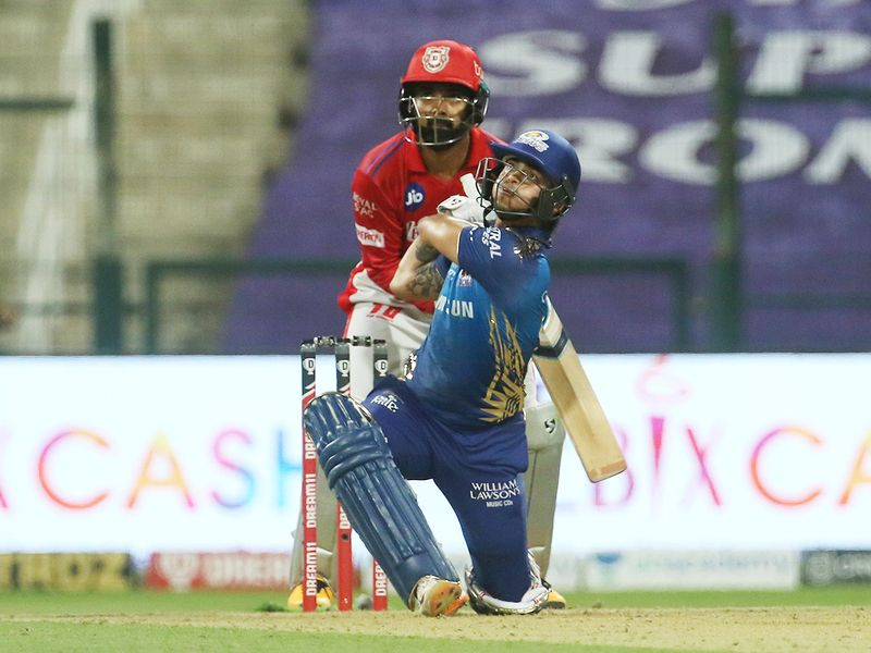 Ishan Kishan of Mumbai Indians hits a six.