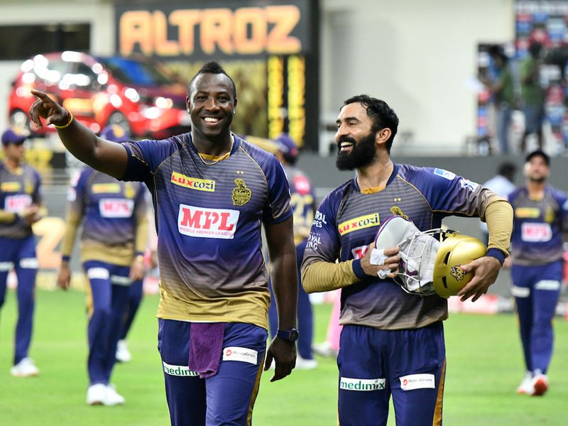 KKR Captain Dinesh Karthik, players Andre Russell acelebrate the winning the match 12 of season 13, Dream 11 Indian Premier League (IPL) between Rajasthan Royals (RR) and Kolkata Knight Riders (KKR) held at the Dubai International Cricket Stadium, Dubai in the United Arab Emirates on the 30th September 2020. Photo by: SAMUEL RAJKUMAR / Sportzpics for BCCI