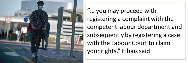 You may proceed with registering a complaint with the competent labour department and subsequently by registering a case with the Labour Court to claim your rights