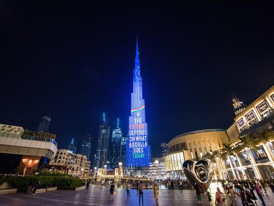 Indian global icon Mahatma Gandhi's projection on Dubai's Burj Khalifa
