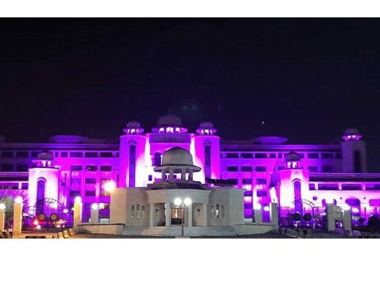 Pakistan government buildings turn pink