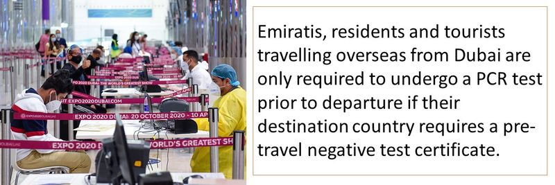 Emiratis, residents and tourists travelling overseas from Dubai are only required to undergo a PCR test prior to departure if their destination country requires a pre-travel negative test certificate.