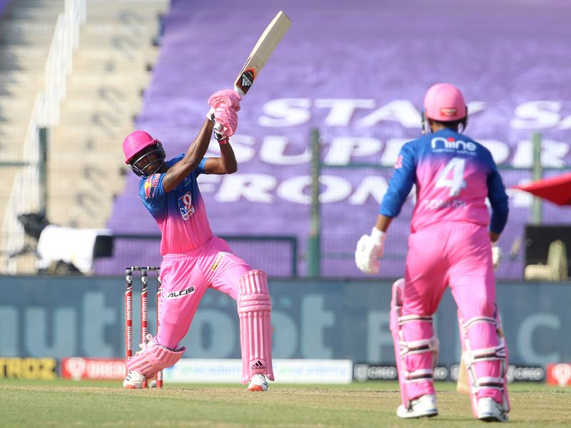 Jofra Archer of Rajasthan Royals hits a six.