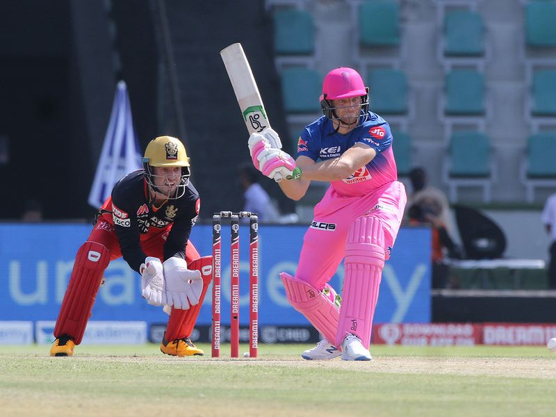 Jos Buttler of Rajasthan Royals plays a shot.