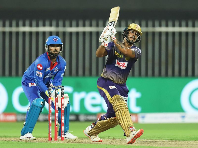 Nitish Rana of Kolkata Knight Riders hits a six.