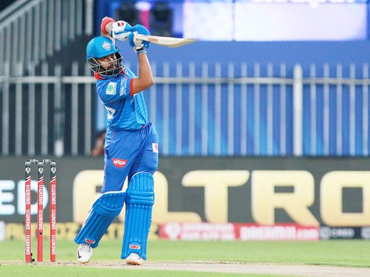 Prithvi Shaw of Delhi Capitals hits a straight drive.