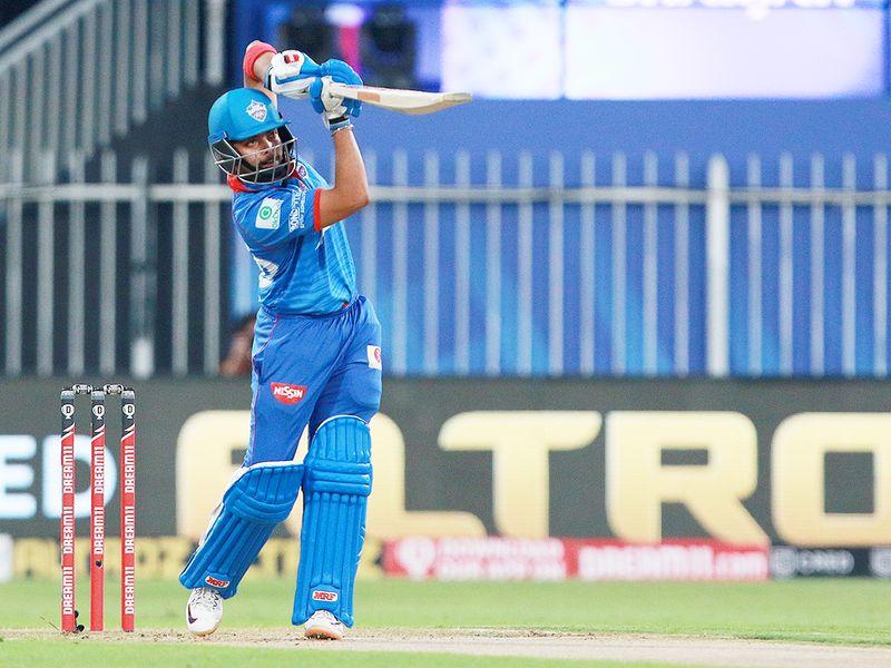 Prithvi Shaw of Delhi Capitals hits a straight drive.