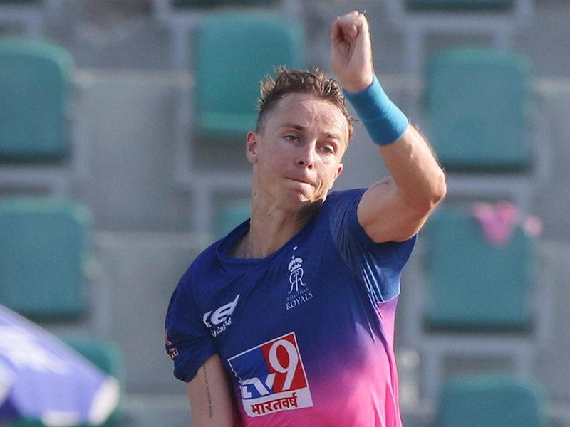 Tom Curran of Rajasthan Royals bowls during the match.